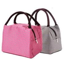 Lunch Bags 2PCS Lunch Organizer for office Lunch Cooler with Zip Closure Foldable Lunch Tote Bag, Reusable Lunch Holder Insulated Lunch Container Picnic Bag for Men Kids Women
