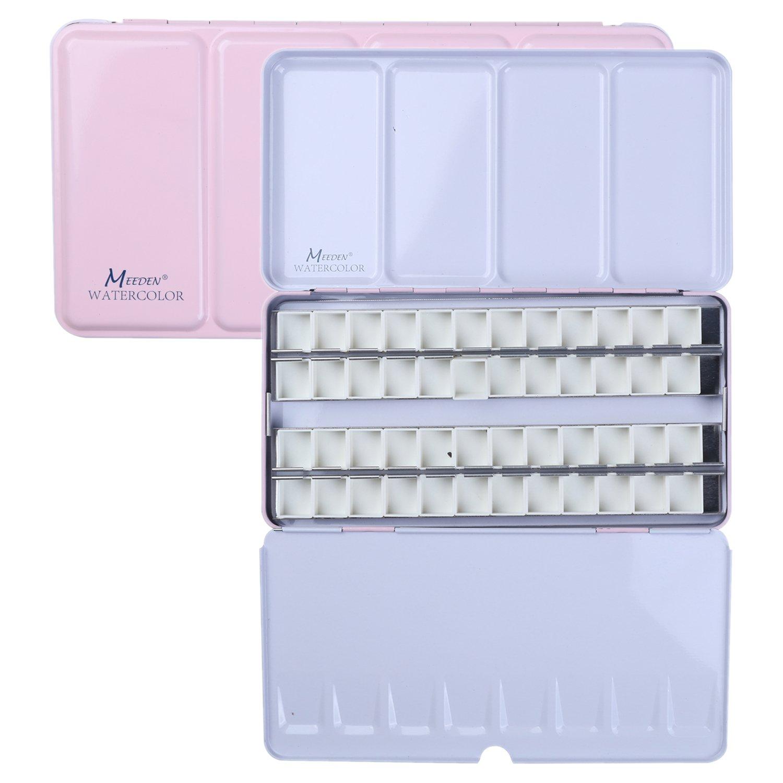 MEEDEN Empty Watercolor Tins Box Palette Paint Case, Large Pink Tin with 48 Pcs Half Pans