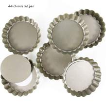 6 Pack(4 Inch) Round Mini Tart and Quiche Pan with Removable Loose Bottom, Non-stick Tin for Pie (Champagne Color)