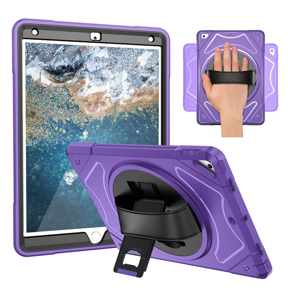 NEWQIANG iPad 6th Generation Case with Screen Protector and Stylus - iPad 2018 2017 Case Cover - Leather Hand Strap, Heavy Duty Hardback, 360 Rotatable Kickstand, Shockproof - A1822 A1823 (Purple)