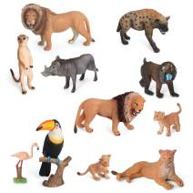 Volnau Animal Toys Figurines Africa Animals Figures Zoo Pack for Kids Christmas Birthday Gift Preschool Educational and Lion Jungle Forest King Animals Sets