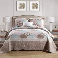 NEWLAKE Quilt Bedspread Sets-Checkered Floral Reversible Coverlet Set,Queen Size