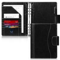 A5 Binder, Skycase A5 Binder Leather, 6 Ring Binder Planner Notebooks Portfolio with Document Sleeve/Card Holder/Pencil Holder for A5 Filler Paper (No Paper),Black