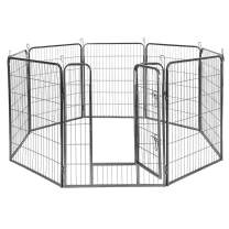 Giantex 24/32/40/48inch Dog Playpen with Door, 16/8 Panel Pet Playpen for Large and Small Dogs, Portable Freestanding Dog Exercise Pens, Metal Dog Playpen Indoor & Outdoor