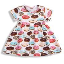 Toddler Kids Baby Girl Summer Dress Doughnut Print Skirt Birthday Outfits Party Clothing Set