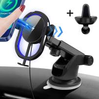 Qi Car Wireless Charger, 15W Fast Car Phone Holder[Air Vent & Dashboard], Infrared Sensor Automatic Clamping Wireless Car Charging for iPhone 12/12 Pro/Pro Max/11/XS/8/Samsung S20/Note 20