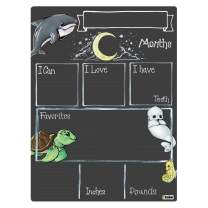 Cohas Monthly Milestone Board for Baby with Ocean Theme, Reusable Chalkboard Style Surface, and No Liquid Chalk Marker, 9 by 12 Inches, No Marker
