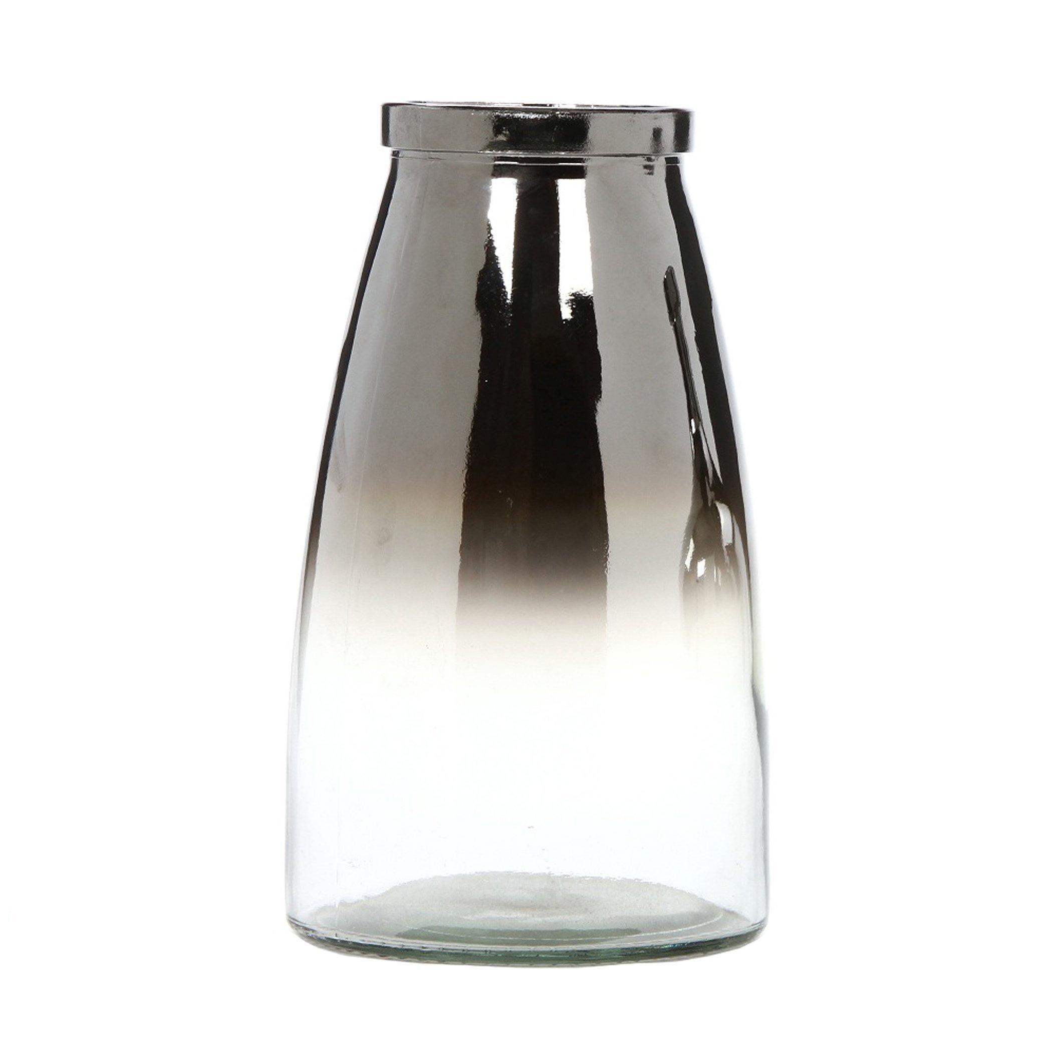 Hosley Silver Glass Flower Vase 10.25 Inch High Ideal Gift for Weddings Bridal Spa Meditation Reiki Rose Vase Nautical Settings Storage P1