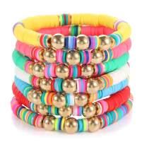 Beach Bracelet Set for Women - Stack Rainbow Friendship Bracelets Clay Heishi Beads Surfer Bracelets Stretch Handmade Elastic Srting Bracelets Bulk Boho Summer Jewelry for Men Girls