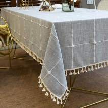 Vedouci Tassel Tablecloth Rectangle Table Cloth Cotton Linen Wrinkle Free Anti-Fading Tablecloths Washable Dust-Proof Table Cover for Kitchen Dinning Party (Oblong, 55''x70'',4-6 Seats, Gray)