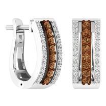Dazzlingrock Collection 0.45 Carat (ctw) 14K Gold Round Champagne & White Diamond Ladies Huggies Hoop Earrings 1/2 CT