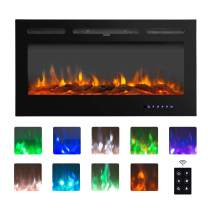 """BAHOM 50"""" Electric Fireplace Heater Insert with TV Stand, Wall Mounted Heater Indoor with 9 Flames, Remote and Thermostat Control, Black"""