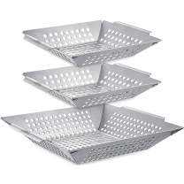 3 Pack Grill Basket Set - Grill Baskets for Outdoor Grill, Heavy Duty Stainless Steel Vegetable Grill Basket, Grilling Basket for Veggie & Kabob, 5-Star Grilling Accessories for All Grills & Smokers