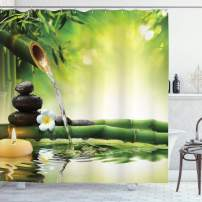 """Ambesonne Spa Shower Curtain, Meditation and Picture of Bamboo Stalks Candle and Basalt Stones Theraphy Relaxing, Cloth Fabric Bathroom Decor Set with Hooks, 75"""" Long, Green Yellow"""