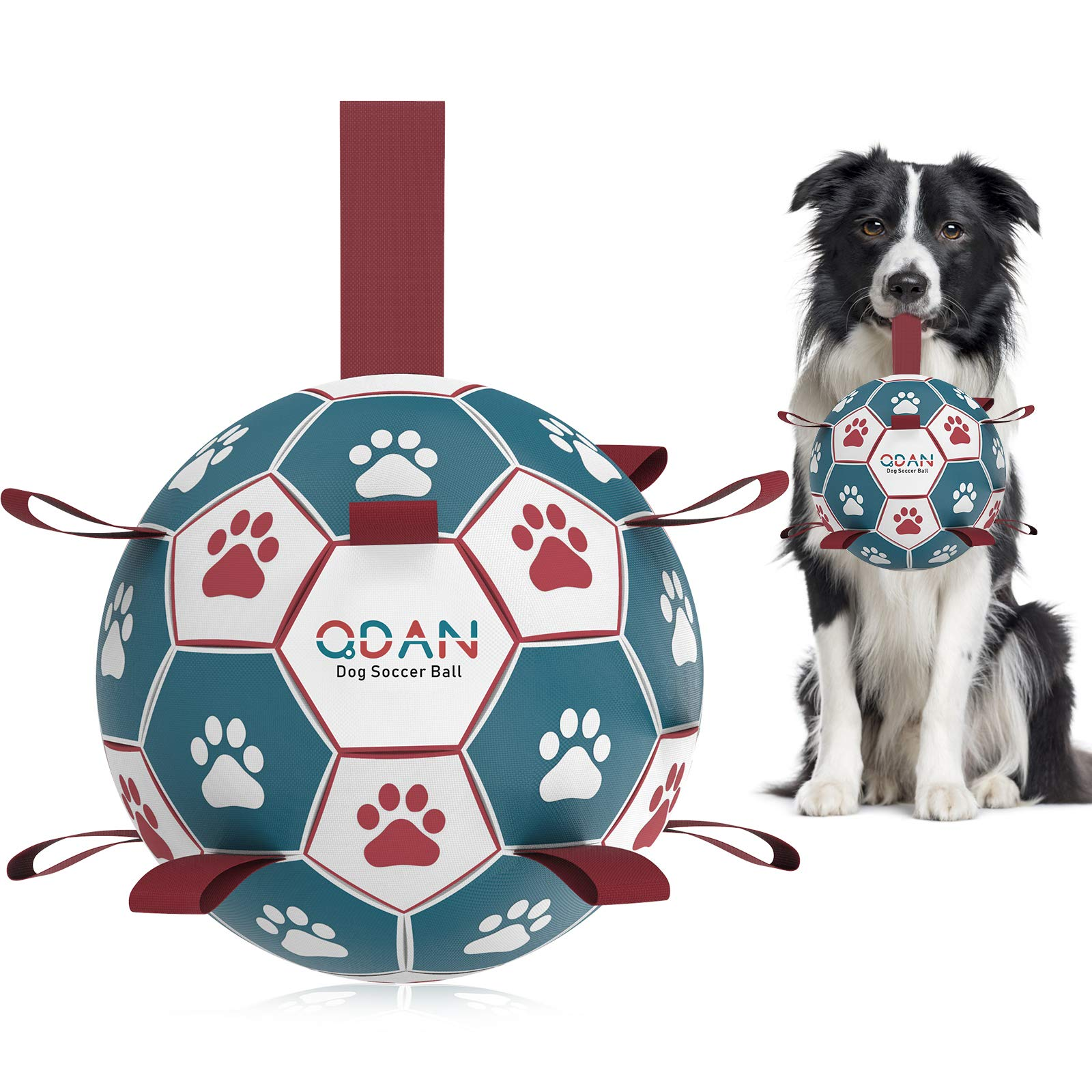 Dog Toys Soccer Ball,Qdan Interactive Dog Toys for Tug of War, Dog Tug Toy, Dog Water Toy, Durable Dog Balls for Small & Medium Dogs-Blue&Red