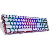 Lindon-Tech Bluetooth Mechanical Keyboard with RGB Backlit, Crystal Mechanical Keyboard, Retro Vintage Typewriter Style Keycaps