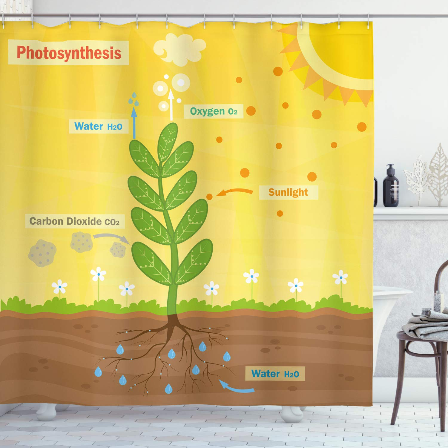 """Ambesonne Educational Shower Curtain, Cartoon Photosynthesis Oxygen Carbon Dioxide Sunlight and Water, Cloth Fabric Bathroom Decor Set with Hooks, 70"""" Long, Yellow Green"""