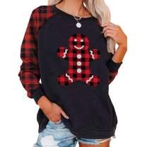 Christmas Shirt for Women, Women's Christmas Gingerbread Man Printed Plaid Sleeve Thin Light Sweatshirt