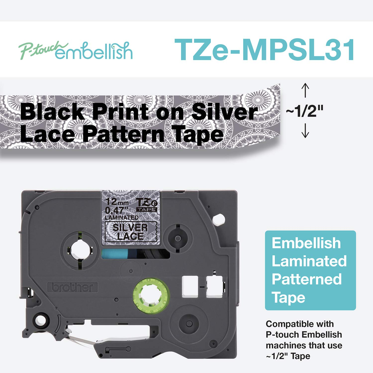 Brother P-Touch Embellish Print Pattern Tape, Black on Silver Lace