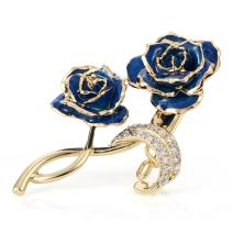 ZJchao Bouquet Brooch Pins 24K Gold Plated Rose Flower Brooch Clips for Bridal Wedding Party Dress