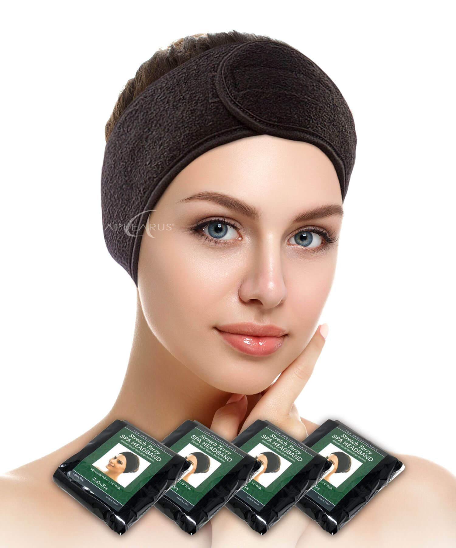 Spa Facial Headband - APPEARUS Head Wrap Terry Cloth Headbands Stretch Towel with Closure for Bath, Makeup and Sport (4 Count/Black)