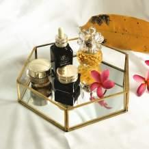 "Yamfurvo Hexagon Glass Decorative Tray, Jewelry Tray, Serving Tray, 10""x8.5""X2"", Mirror and Velvet Base"