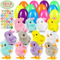 Twister.CK Easter Eggs Filled Wind Up Toys Rabbits and Chicks 12 Pack,Easter Sticker Decorations 2 Pack, Easter Basket Stuffers,Easter Egg Hunt Party Favor for Kids Easter Eggs Toys
