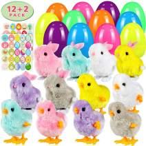 Twister.CK Easter Eggs Filled Wind Up Toys Rabbits and Chicks 12 Pack,Easter Sticker Decorations 2 Pack, Easter Basket Stuffers,Easter Egg Hunt Party Favor for Kids Easter Eggs Toys
