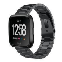 VIGOSS Metal Strap Compatible with Fitbit Versa Bands/Versa 2 Band Men Black Solid Stainless Steel Versa Special Edition Bracelet Replacement for Fitbit Versa/Lite Edition/Versa 2 Smartwatch