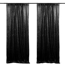 Sparkly Sequin Backdrop Shimmer Curtain Black Wedding Party Photography Background 2 Pieces 2ftx8ft Seamless Sequin Backdrop for Halloween Decoration