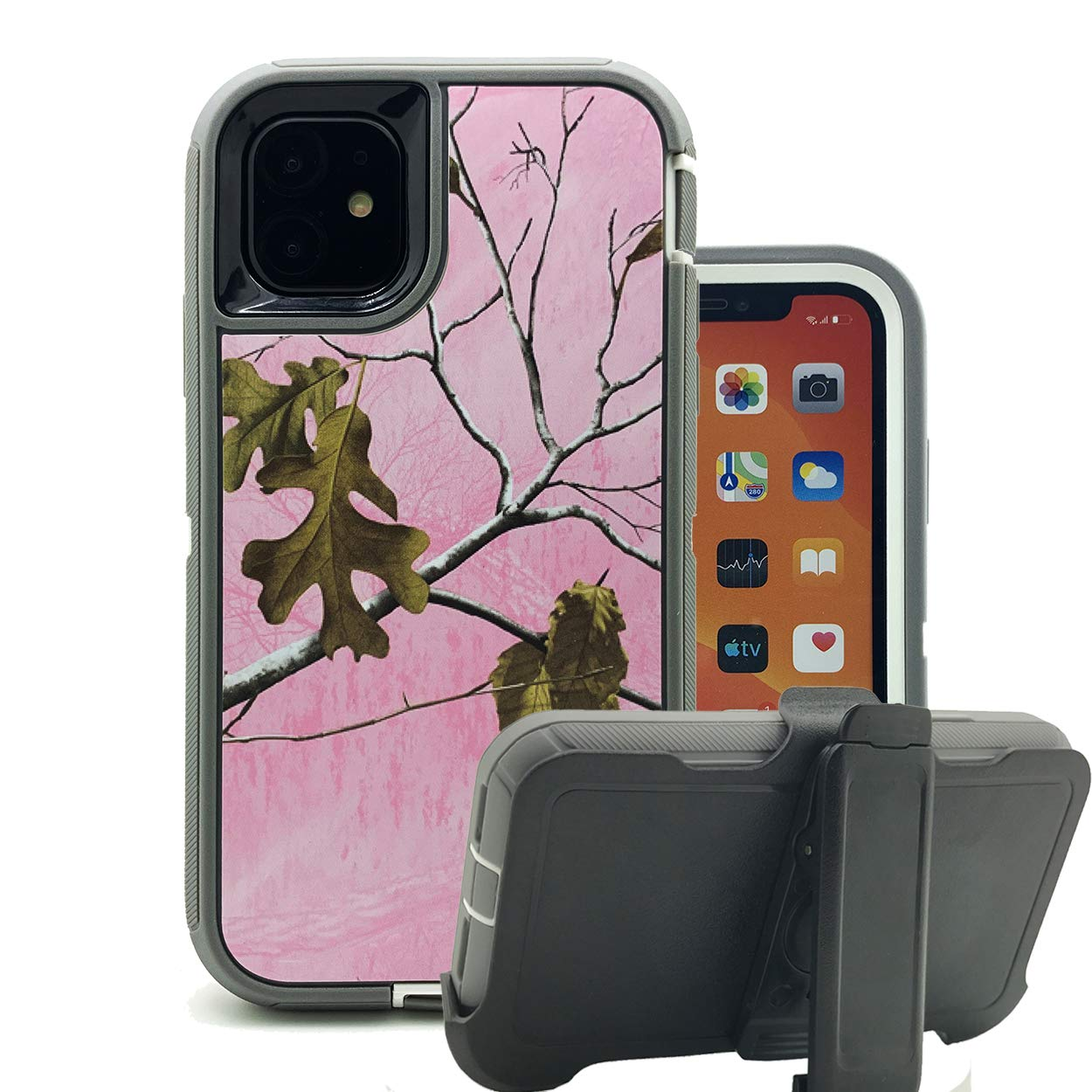 Harsel Heavy Duty Scratch Resistant Defender Camouflage Design Hybrid Armor Military Grade Protection Shockproof Durable Case Cover Bumper with Belt Clip for iPhone 11 Pro (Xtra Pink)