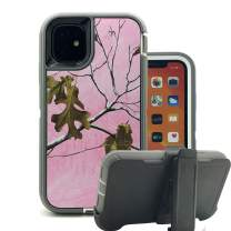 iPhone 11 Cover, Harsel Heavy Duty Scratch Resistant Defender Camouflage Hybrid Armor Military Grade Protection Shockproof Durable Case Shell with Belt Clip for iPhone 11 (Pink Camo)