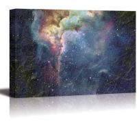 wall26 - Colorful Galaxy on a Starry Sky with Glowing Stripes Over It - Canvas Art Home Art - 32x48 inches