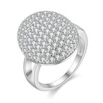 Uloveido Disco Ball Design Party Rings - Cubic Zirconia Cluster Statement Dome Rings White Gold Plated Jewelry for Women PJ4297