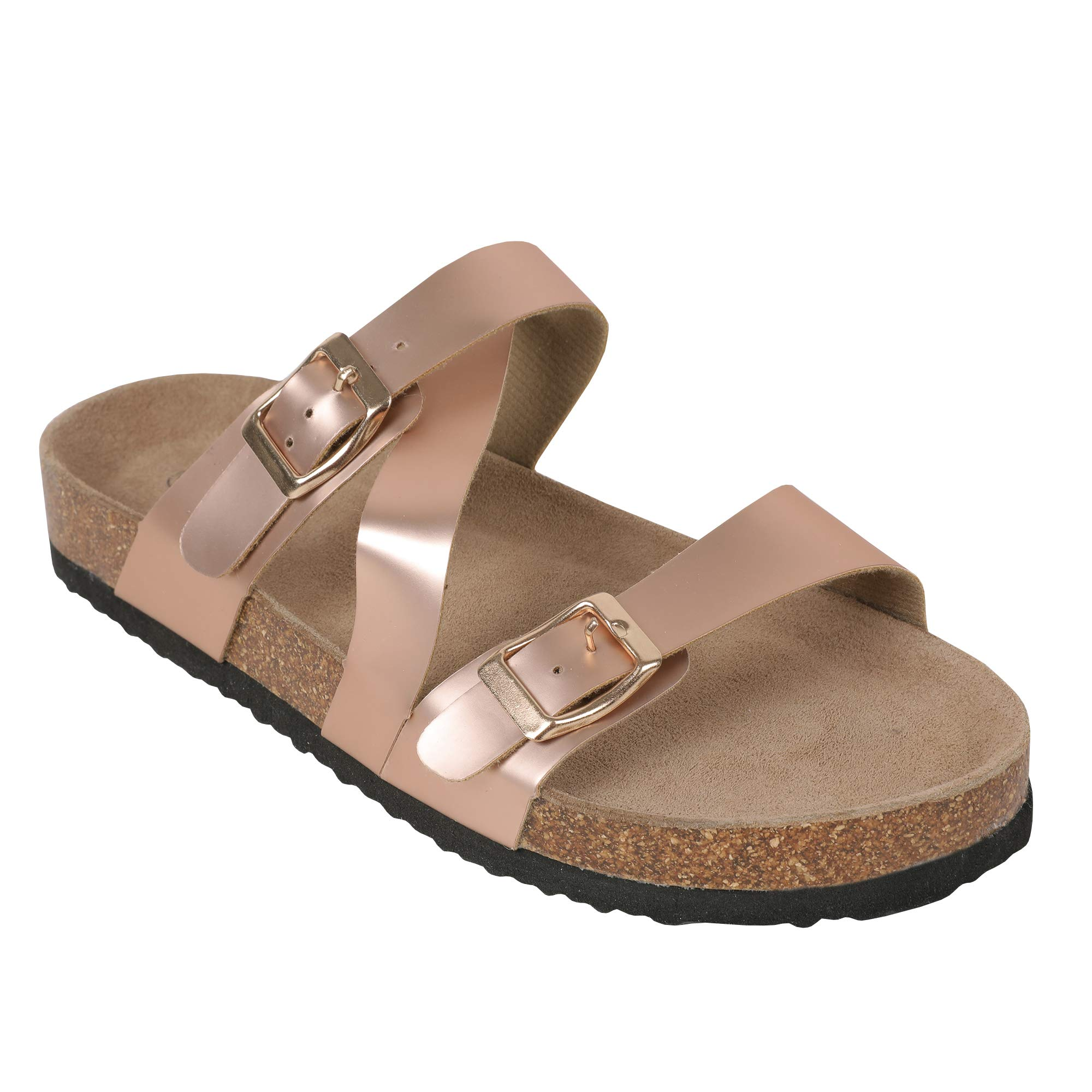 Womens Thong Flat Sandals Gladiator Buckle Strappy Cork Sole Summer Slides