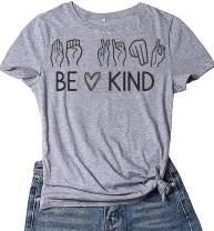 maqsai Be Kind T Shirt Women Funny Graphic Tee Inspirational Teacher Casual Shirts
