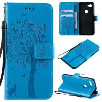 Cmeka 3D Cat Tree Flower Butterfly Wallet Case for Google Pixel 3a Slim Flip Leather Protective Case Magnetic Closure Credit Card Slots Holder Kickstand Function Sky Blue