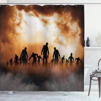"Ambesonne Halloween Shower Curtain, Zombies Dead Men Walking Body in The Doom Mist at Night Sky Haunted Theme Print, Cloth Fabric Bathroom Decor Set with Hooks, 70"" Long, Black Orange"