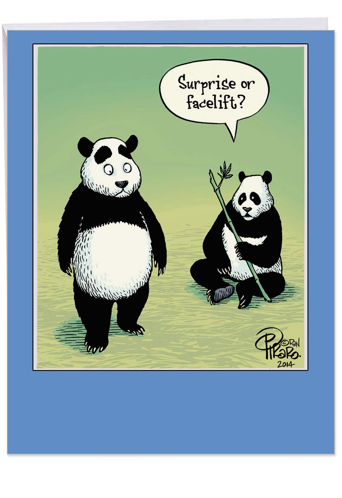 Surprise or Facelift Birthday Card' Big Greeting Card with Envelope 8.5 x 11 Inch - Surprised Panda Bears, Funny Cartoon, Comic Art Stationery Set for Personalized Happy Birthday Greetings J9768