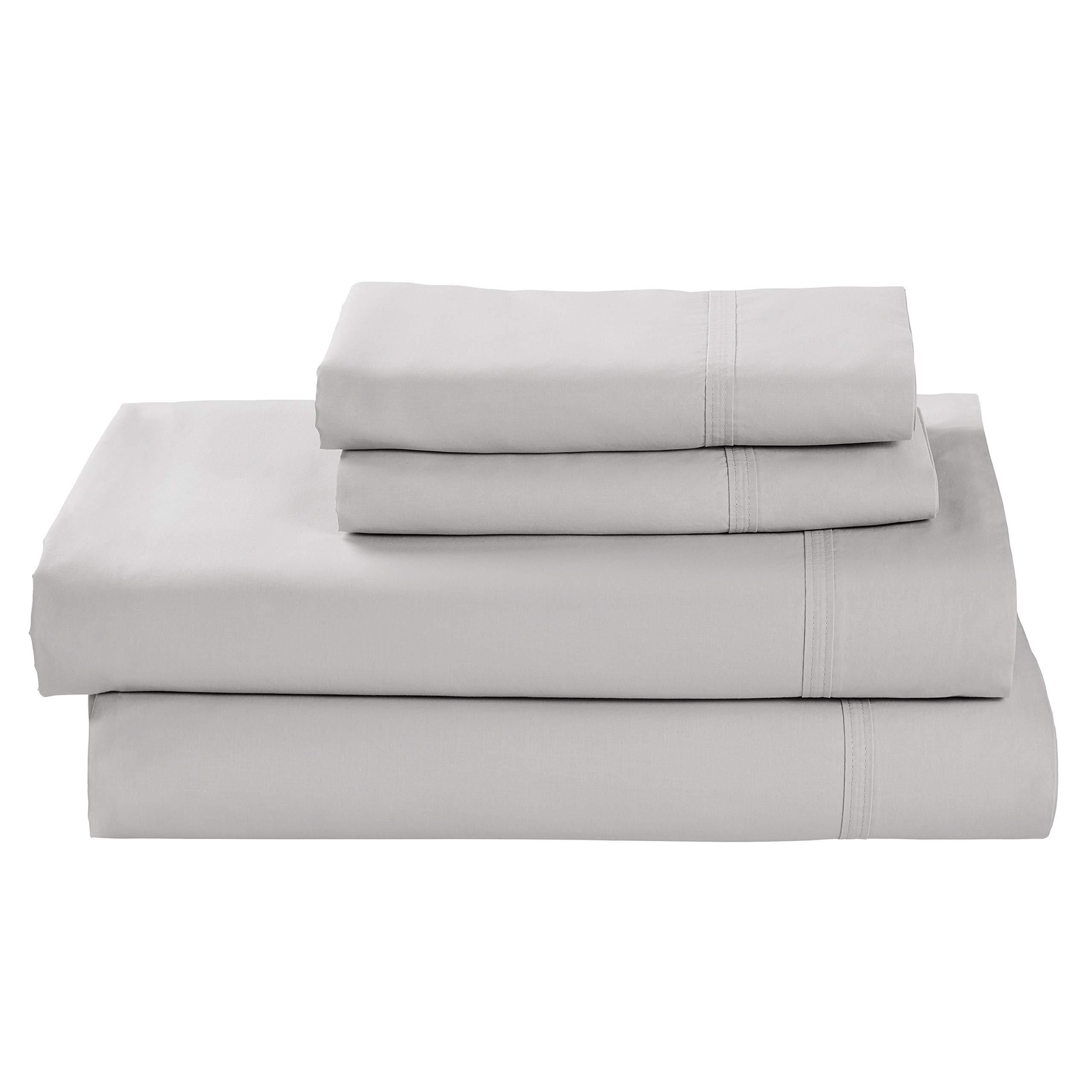 Rivet Percale 100% Organic Cotton Bed Sheet Set, Easy Care, King, Vapor