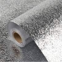 "Soqool Self Adhesive Shelf Liner Drawer Liner Peel and Stick Foil Wallpaper Cabinets Shelf Sticker, Creative Aluminum Backsplash Waterproof Paper for Home/Kitchen/Bathroom (15.7""x 78.7"", Texture)"