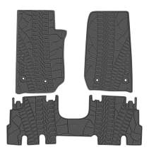 San Auto Car Floor Mat for Jeep Wrangler 4 Door Sahara Rubicon JK 2014 2015 2016 2017 Full Set 4 Pieces Custom Fit Full Black Rubber Auto Floor Liner Mat All Weather Heavy Duty Odorless