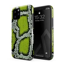 BURGA Phone Case Compatible with iPhone 11 PRO - Neon Green Snake Skin Print Serpent Pattern Summer Exotic Tropical Heavy Duty Shockproof Dual Layer Hard Shell + Silicone Protective Cover