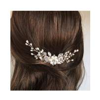 Campsis Bridal Wedding Hair Comb Silver Sparkly Rhinestones Side Combs Crystals Pearls Flower Bride Hairpieces Gorgeous Hair Accessories for Women and Girls(Rose Gold)