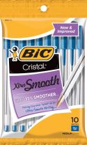BIC Cristal Xtra Smooth Ballpoint Pen, Medium Point (1.0mm), Blue, 10-Count (Pack of 12)