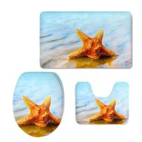 CHAQLIN Nonslip 3 Piece Bath Rug Set Sea Shell Bathroom Mat/Contour/Toilet Lid Cover (White)