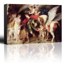 wall26 - Oil Painting of Perseus and Andromeda by Peter Paul Rubens - Baroque Style - Angels, Pegasus, Catholic - Canvas Art Home Decor - 12x18 inches