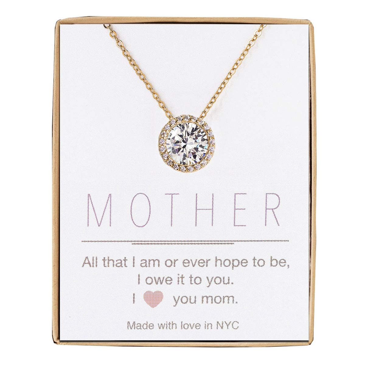 A+O Gift for Mom, Aunt, Grandma - Solitaire Halo Necklace in Gold, Rose Gold, Silver