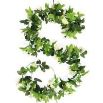 HEJIAYI 3 Pack 96 Inch Rose Vine Silk Flower Garland Artificial Flowers Plants Leaf Vine for Home Wedding Decoration (Beiges)