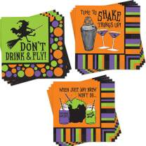 """96-Pack Halloween Themed Cocktail Napkins - Disposable Paper Party Napkins in 3 Assorted Halloween Napkin Designs - Measures: 5"""" x 5"""", 10"""" x 10"""" Unfolded, Perfect Party Supplies for Halloween Party"""